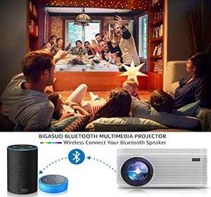BIGASUO [2021 Upgrade] Mini Projector